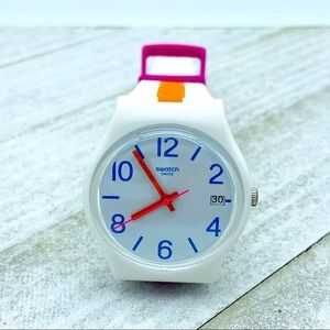Swatch Pinkline White Rubber Swiss Quartz Watch